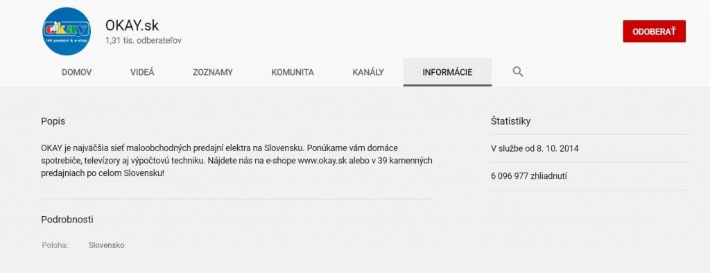 Youtube kanál Okay.sk