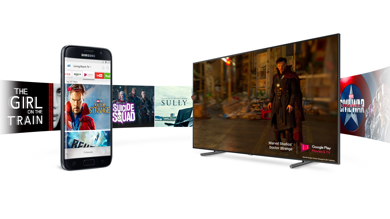 Súhra so smartfónom QLED TV