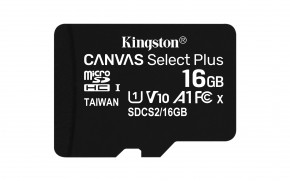 16GB microSDHC Kingston Canvas Select Plus  A1 CL10 100MB/s