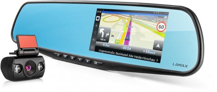 2v1 Autokamery + GPS 2v1 Kamera + GPS Lamax Drive S5 NAVI PLUS, zrkadielko+zadná kam.