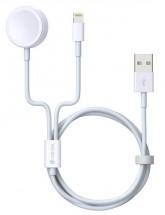 2v1 kábel Devia pre Apple Watch/lightning, 1.2m, biela