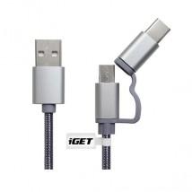 2v1 Kábel iGET Micro USB/USB Typ C na USB, 1m, predĺžený