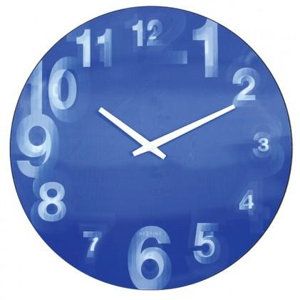 3D  - hodiny, nástenné, guľaté (tvrdený plast, modré)