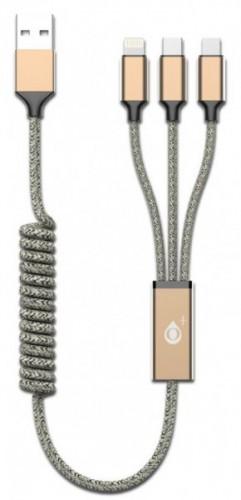 3v1 Kábel Aligator Micro USB/Lightning/USB Typ C na USB, zlatá