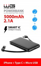 3v1 PowerBank WG 5000mAh MicroUSB+USB Typ C+ Lightning, čierna