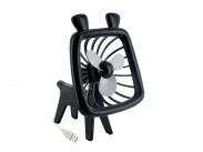 4World USB ventilátor Animal, silent Wave, čierny