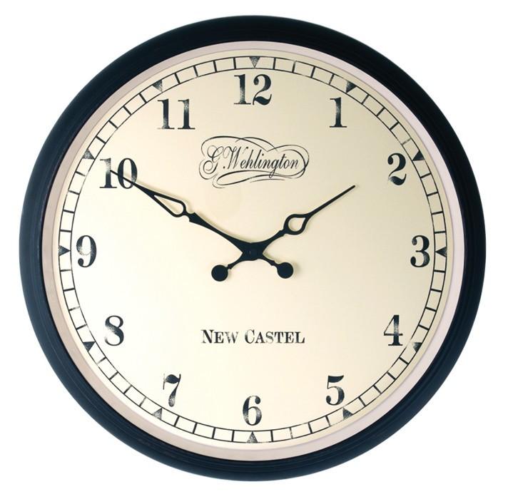 Aaltje - hodiny, nástenné, guľaté (sklo, patinový kov, biele)