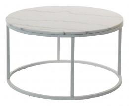 Accent - Konferenčný stolík kruhový, nižší (mramor, biela)