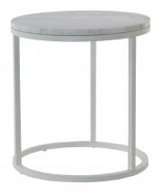 Accent - Konferenčný stolík kruhový, vyšší (mramor, biela)