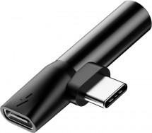 Adaptér USB Typ C na Typ C + 3,5mm Jack, čierna
