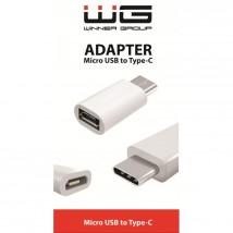 Adaptér WG Micro USB na USB Typ C, biela POŠKODENÝ OBAL