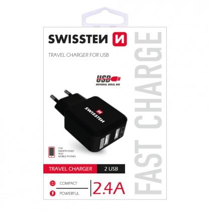 Adaptéry Nabíjačka Swissten 2xUSB 2,4A, čierna