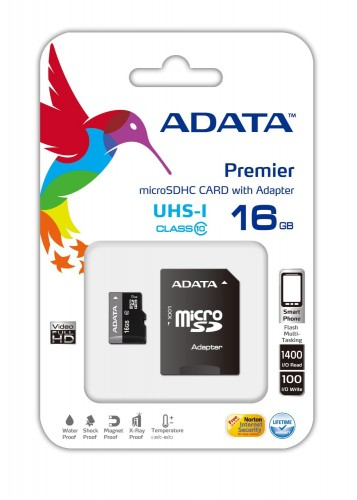 ADATA Micro SDHC Premier 16GB + adaptér AUSDH16GUICL10-RA1