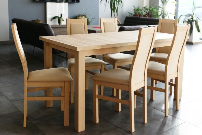 Agáta - Set 6x stolička, 1x stôl + rozklad (sonoma/madryt 120)