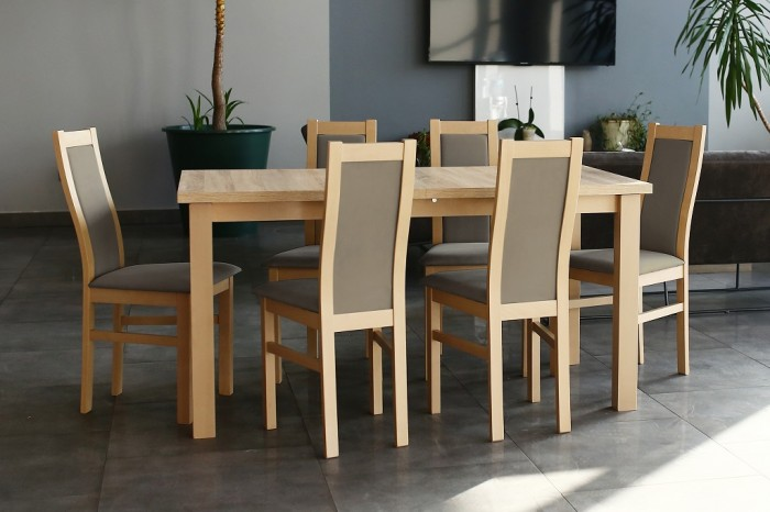 Agáta - Set 6x stolička, 1x stôl + rozklad (sonoma/madryt 126).