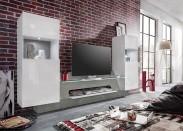 Air - Obývacia stena, 2x osvetlenie (biela mat/biela lesk)