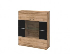 Alberto - Vitrína, 2x dvere (dub wotan/dub wotan, čierna)
