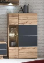 Alberto - Vitrína ľavá, 2x dvere (dub wotan/dub wotan, čierna)
