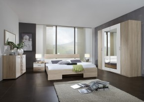 Alina - Komplet 9, posteľ 180 cm (dub, alpská biela)