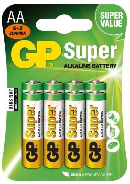 Alkalické batérie Batéria GP SUPER Alkaline AA 8 ks