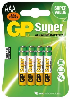 Alkalické batérie Batéria GP Ultra Alkaline AAA 8ks