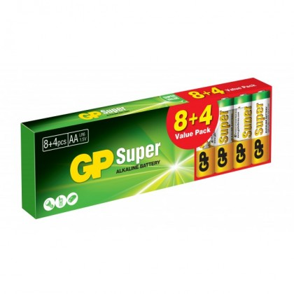 Alkalické batérie Batérie Alkaline GP Super B1320T,AA,8+4ks