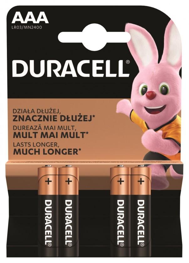 Alkalické batérie Batérie Duracell Basic, AAA, 4ks