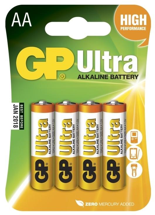 Alkalické batérie Batérie GP Ultra Alkaline, AA, 4ks