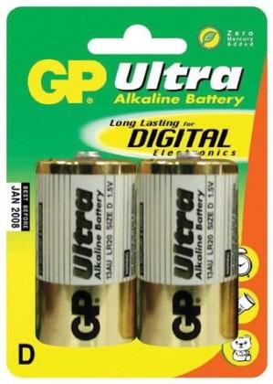 Alkalické batérie Batérie GP Ultra Alkaline, D, 2ks