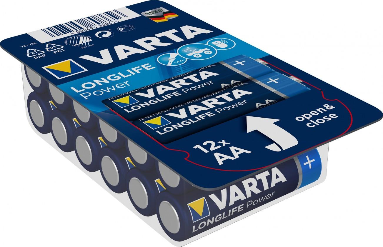 Alkalické batérie Batérie Varta Longlife Power, AA, 12ks