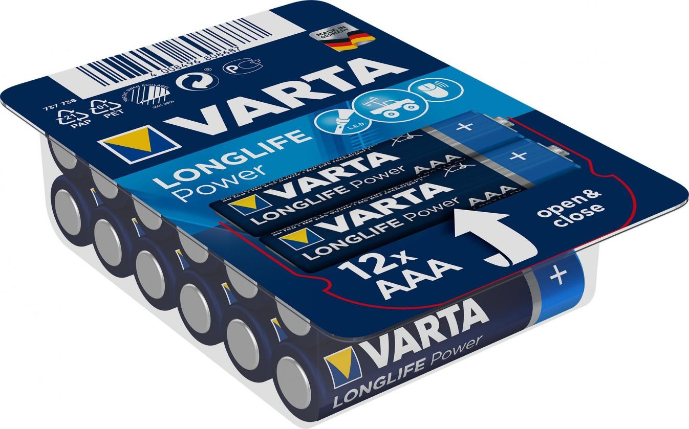 Alkalické batérie Batérie Varta Longlife Power, AAA, 12ks