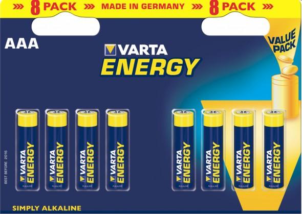 Alkalické batérie  Varta Energy 8 AAA (Double Blister)