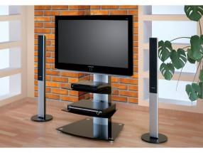 Alladyn 2 - TV stolík s držiakom (čierna/strieborná)