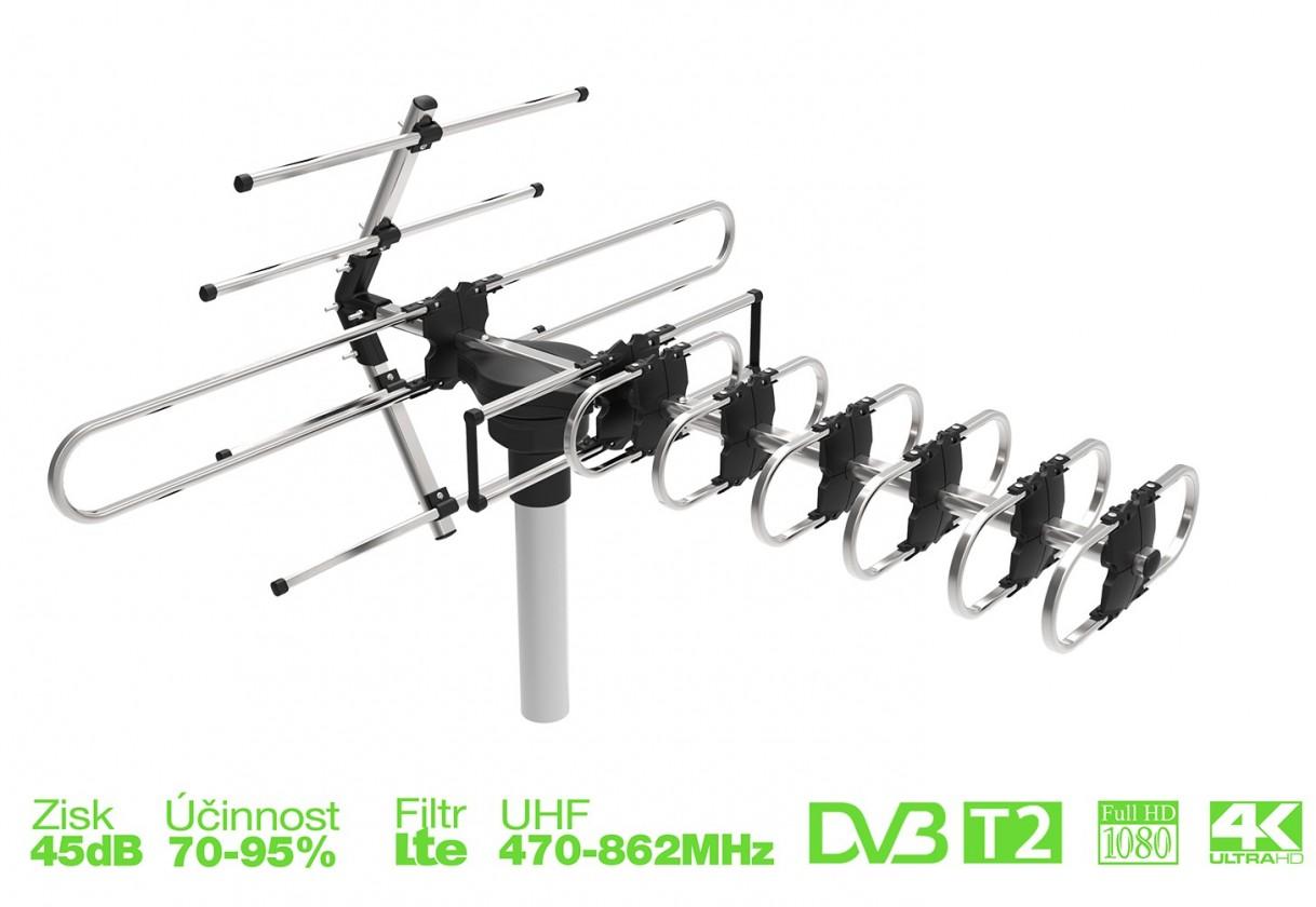 Anténa EVOLVEO GT, aktívna vonkajšia DVB-T/T2 anténa, 45dB ROZBALENÉ