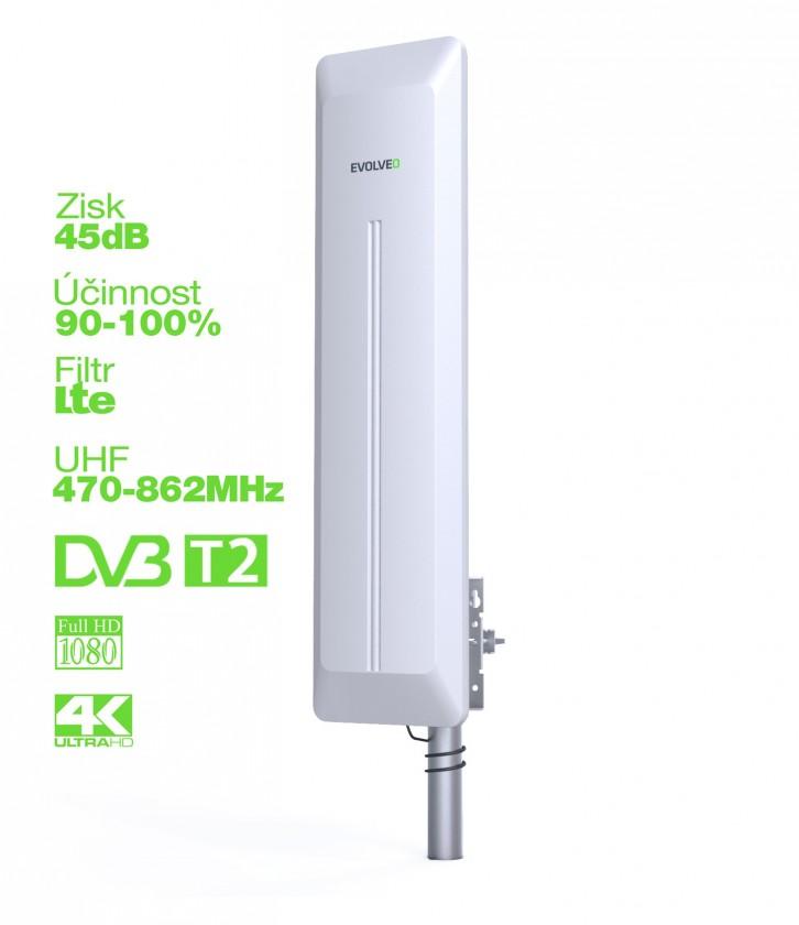 Anténa EVOLVEO HDO, aktívna vonkajšia DVB-T/T2 anténa, 45dB ROZBALENÉ