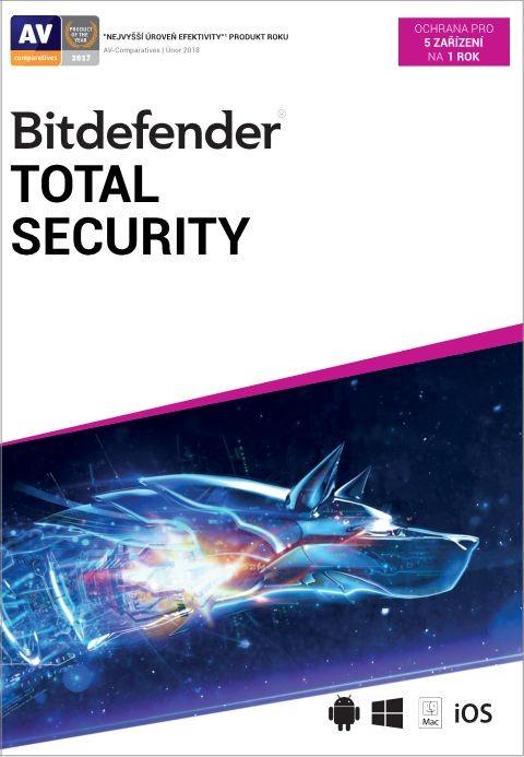 Antivírusový program Bitdefender Total Security, 5 zařízení, 1 rok