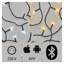 Aplikáciou ovládaná LED vianočná reťaz, 15m, vonk., st./t.b.