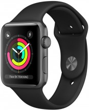 Apple Watch Series 3 GPS, 38mm, sivá, športový remienok