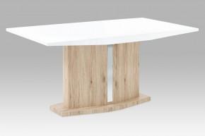 AT - jedálenský stôl (vysoký lesk biely/dub san remo)