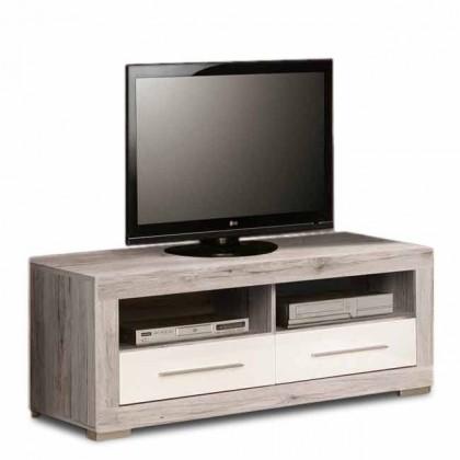 Atrium - TV komoda (dub pískový/biela lesk)