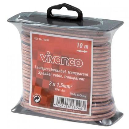 Audio káble, repro káble + konektory Reprokabel Vivanco 18246, 1,5mm, 10m