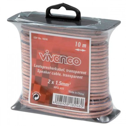 Audio káble, repro káble + konektory Vivanco Audio/Video kábel 10m 1,5mm 18246