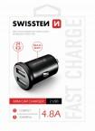 Autonabíjačka Swissten 2xUSB 4,8A, kovová, čierna