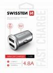 Autonabíjačka Swissten 2xUSB 4,8A, kovová, strieborná