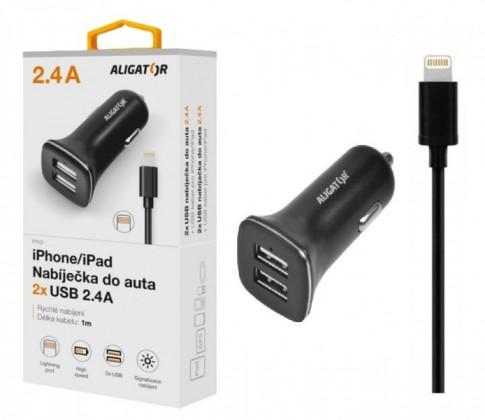 Autonabíjačky (12V) Autonabíjačka Aligator 2xUSB 2,4A + kábel Lightning, čierna
