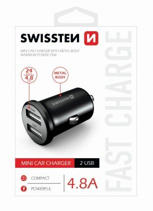 Autonabíjačky (12V) Autonabíjačka Swissten 2xUSB 4,8A, kovová, čierna