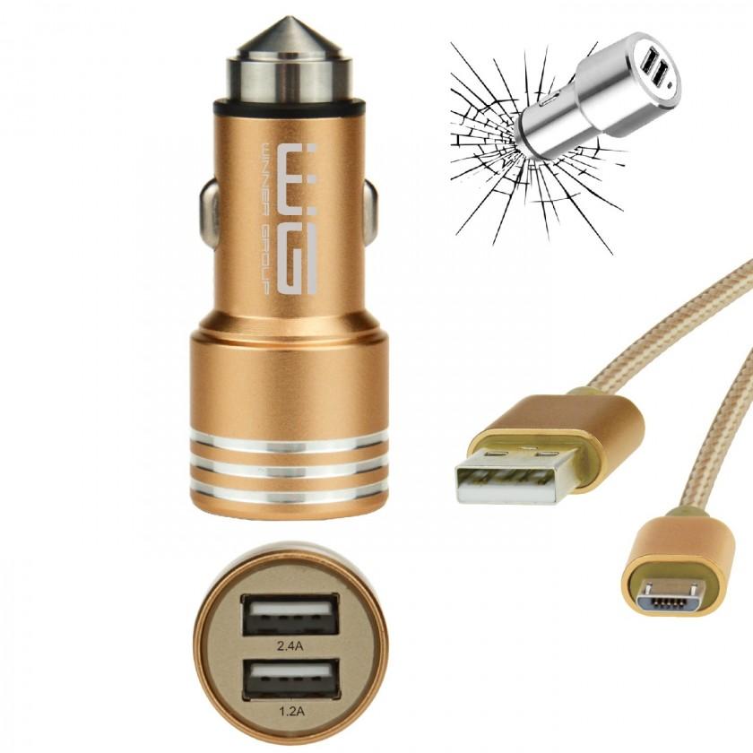 Autonabíjačky (12V) Autonabíjačka WG 2xUSB 2,4A + kábel Micro USB, zlatá