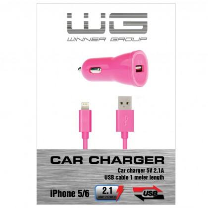 Autonabíjačky (12V) Autonabíječka colour USB (2,1A)+dat.kabl iph 5/6/růžová