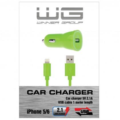 Autonabíjačky (12V) Autonabíječka colour USB (2,1A)+dat.kabl iph 5/6/zelená