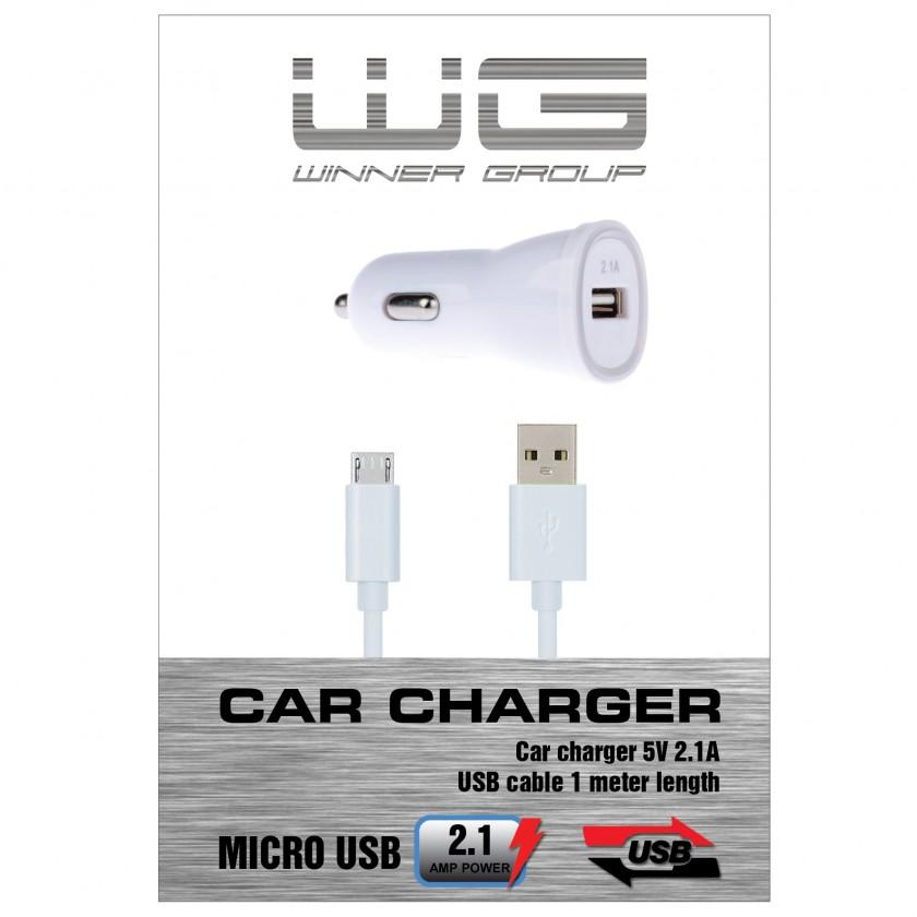 Autonabíjačky (12V) Autonabíječka colour USB (2,1A)+dat. kabl micr-USB/bílá